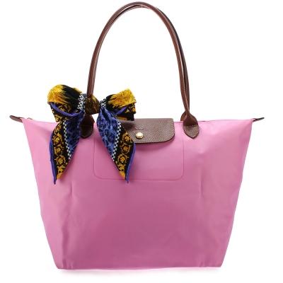 Longchamp 折疊大型長提把水餃包-粉紅色(加贈帕巾)