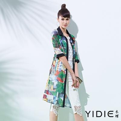 YIDIE衣蝶 長版吉他綠葉印花襯衫外套