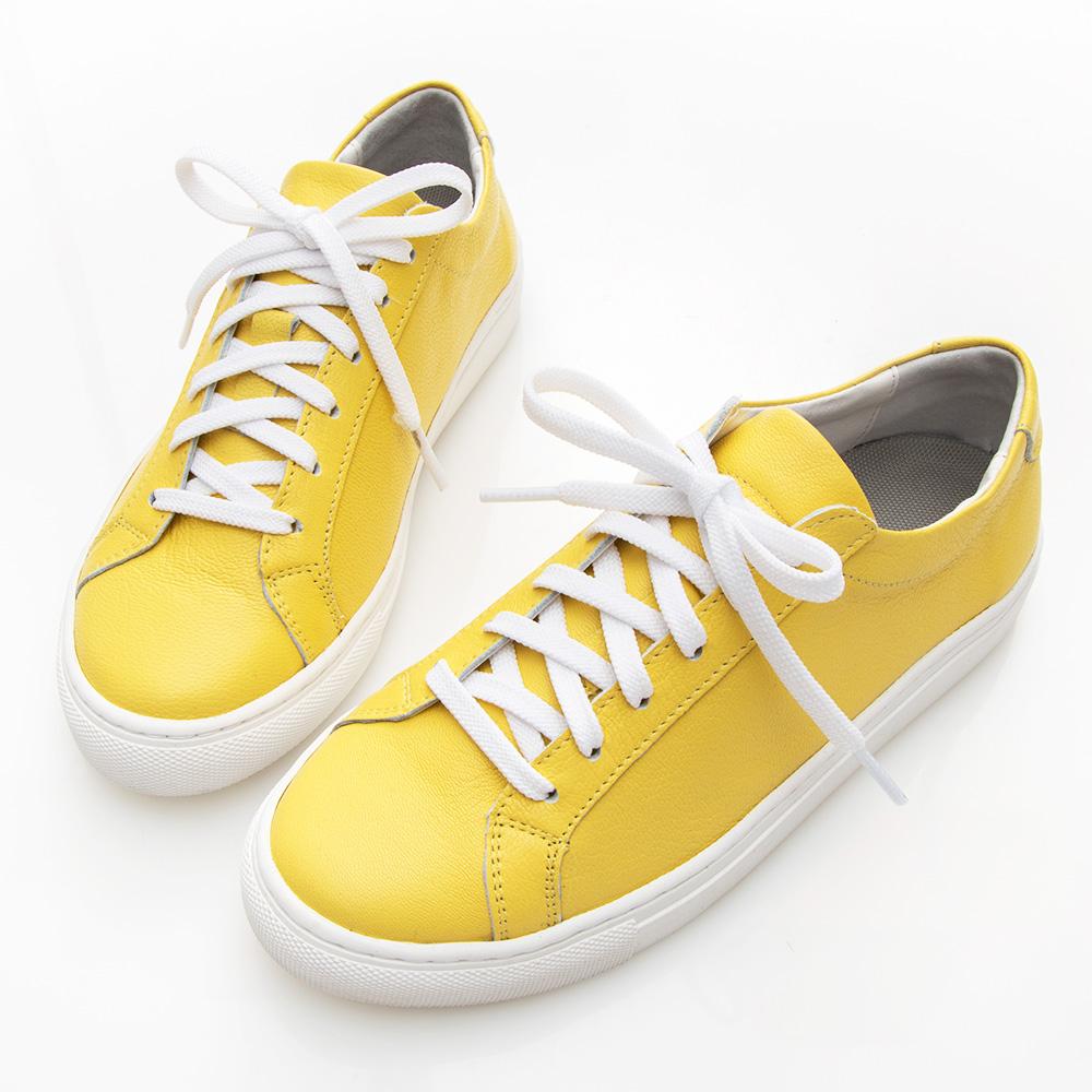 Camille's 韓國空運-正韓製-牛皮經典綁帶休閒鞋-黃色