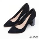 ALDO 原色麂皮尖頭木紋粗高跟鞋~尊爵黑色
