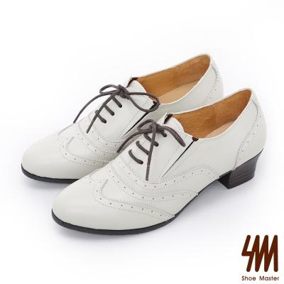SM-英倫系列-微尖頭雕花低跟平底牛津鞋-米色