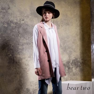 beartwo-優雅翻領開襟口袋背心外套-共二色