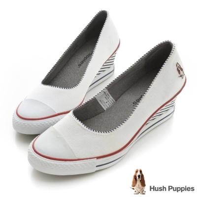 Hush Puppies 海軍風帆布咖啡紗楔型鞋-白