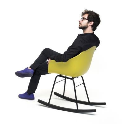 TOOU 義大利品牌 TA系列 巴貝里諾搖椅  橡木黑色椅腳