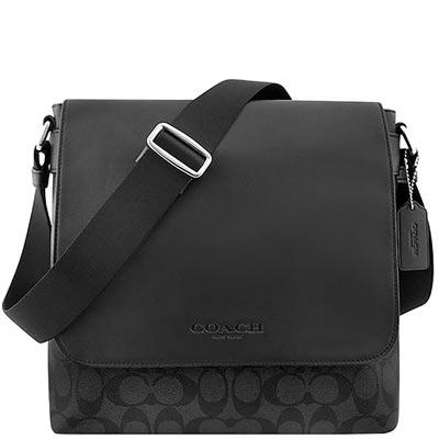 COACH-黑色大C-PVC斜背包