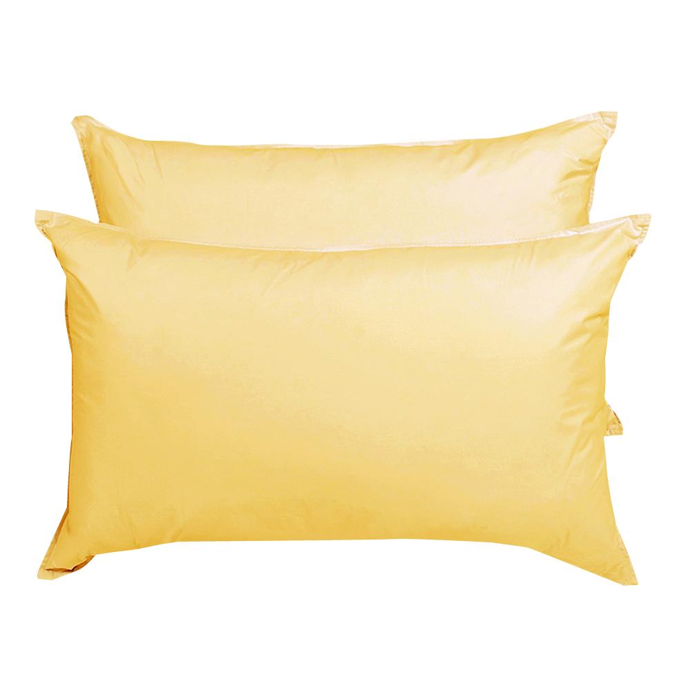 原色布屋純淨天然羽絨枕2入鵝黃