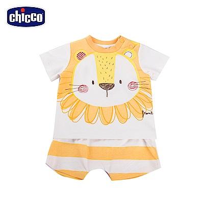 chicco-快樂動物-短袖套裝-條紋(6-18個月)