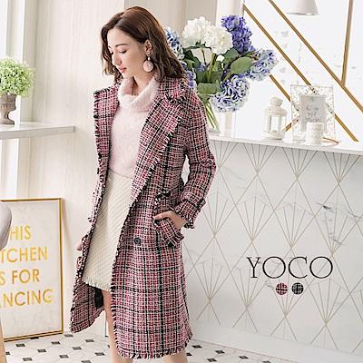 東京著衣-yoco 經典質感格紋翻領抽鬚綁帶大衣-S.M.L(共二色)