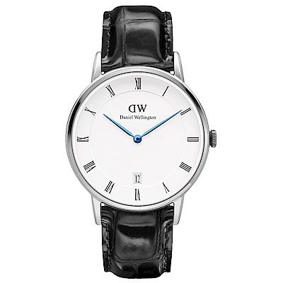 DW Daniel Wellington 時尚腕錶-銀框/34mm(DW00100117)