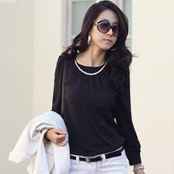 【N.C21】珍珠鍊飾優雅感上衣 (共三色)