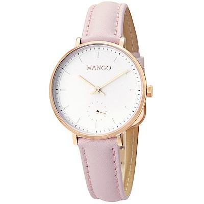 MANGO 百搭白面透明刻度手工皮革錶-粉紅/34mm