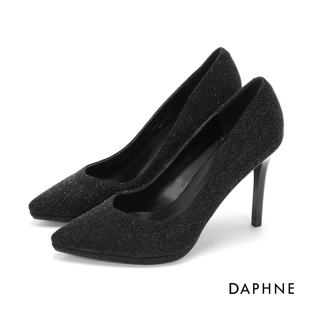 達芙妮DAPHNE 高跟鞋-V型鞋口金蔥尖頭高跟鞋-黑
