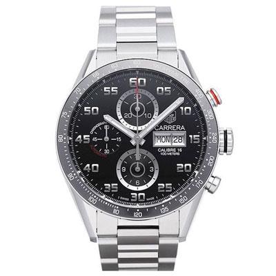 TAG HEUER 豪雅 CARRERA 系列機械計時數字腕錶x黑x43mm