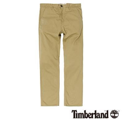 Timberland-男款卡其色素面斜紋休閒長褲
