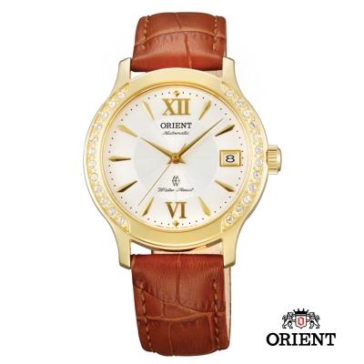 ORIENT 東方錶 ELEGANT系列 優雅鑲鑽機械女錶-白x金色框/36mm