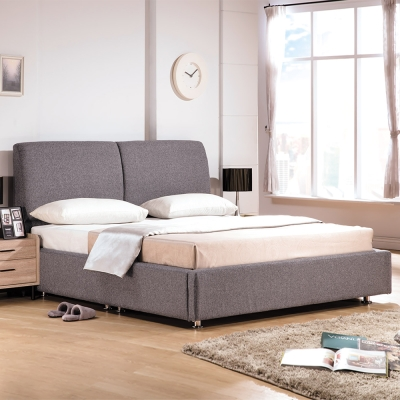 Boden-佩洛6尺灰色雙人加大床組(床頭片+床底)(不含床墊)