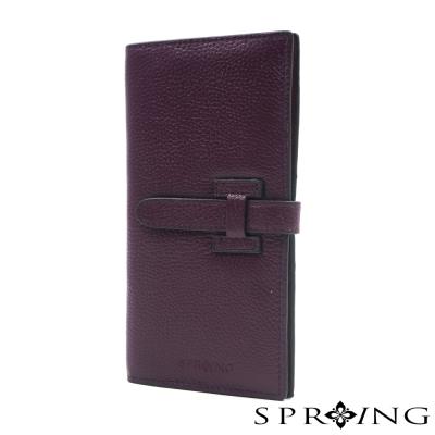 SPRING-牛皮質感名媛長夾-紫
