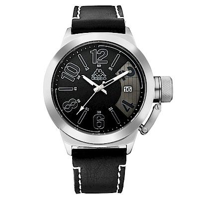 Kappa 獨特重金屬經典時尚腕錶-黑/49mm