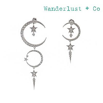 Wanderlust+Co 澳洲時尚品牌 COSMIC DUST宇宙星塵垂墜鑲鑽耳環 銀色
