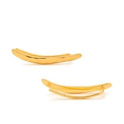 GORJANA 細緻手工冰裂紋 金色平衡骨耳環 耳骨夾 圓弧造型 需耳洞