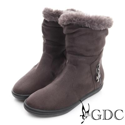 GDC溫暖-兩穿真皮絨布面十字架吊飾毛毛保暖中筒靴-深灰色
