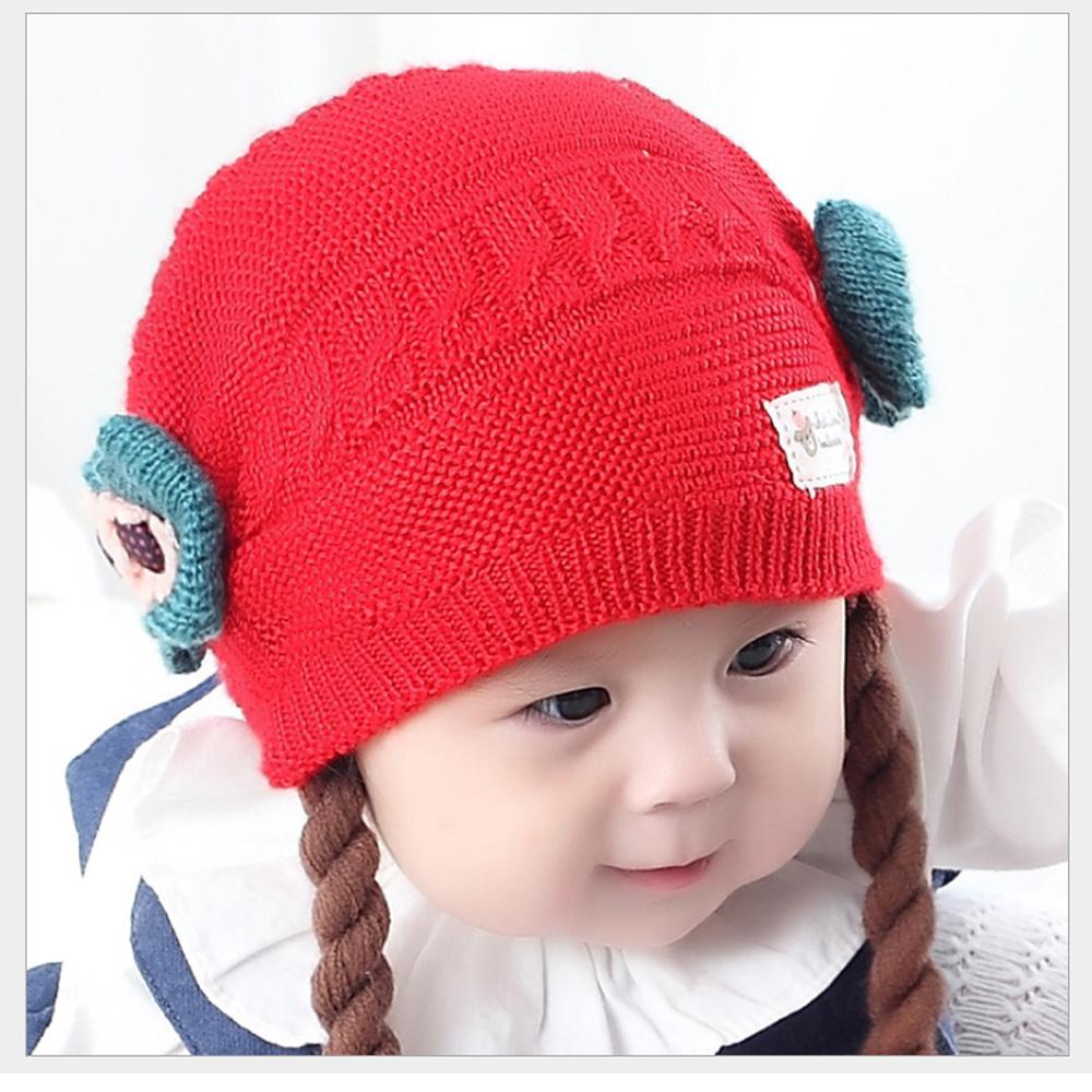 韓版小女孩秋冬棉織保暖毛線帽