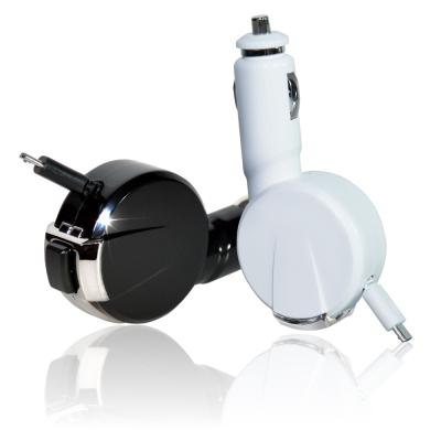 MAILALUN伸縮式Micro USB 1.2A車充充電器黑白色可選-8H