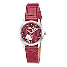 HELLO KITTY 凱蒂貓繽紛格紋造型手錶-紅/30mm