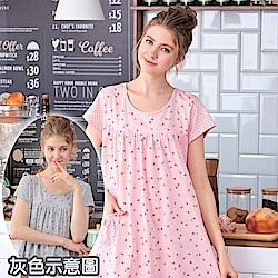 睡衣 碎花灰點點短袖連身睡衣(R75026-6灰點點)台灣製造 蕾妮塔塔