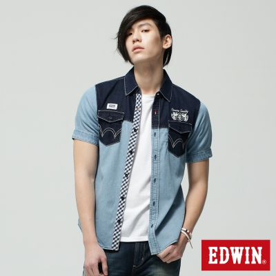EDWIN 襯衫 雙色剪接牛仔襯衫-男-重漂藍
