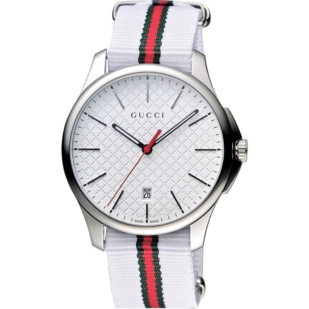 GUCCI G-Timeless 古馳菱格紋時尚帆布腕錶-白/40mm