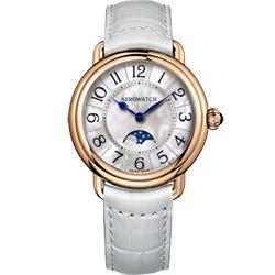 AEROWATCH 歐式風尚月相顯示經典女錶-玫瑰金框x白/35mm