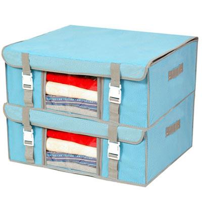 Lisan竹纖維外扣式硬底硬蓋收納箱(粉藍) 2入