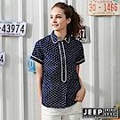 JEEP 女裝 船錨圖騰短袖襯衫-藍色