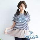 betty's貝蒂思 蕾絲簍空英文字樣條紋兩件式上衣(藍色)