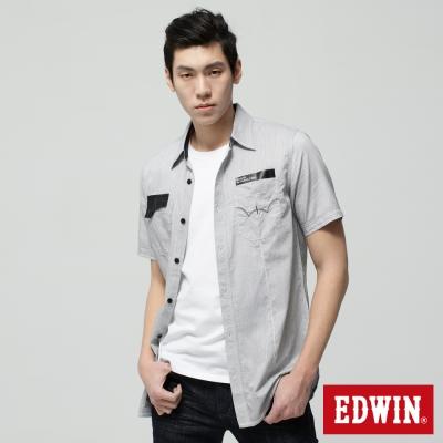 EDWIN男都會剪接短袖襯衫