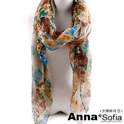 AnnaSofia-彩花繽紛-加大加寬披肩圍巾-褐綠系