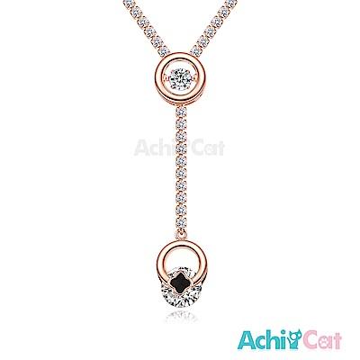 AchiCat 925純銀 跳舞的項鍊 跳動幸福 跳舞石 (玫金)