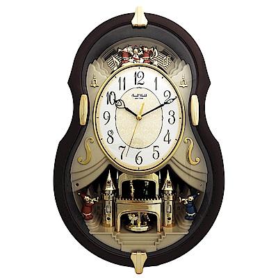 RHYTHM麗聲 古典小提琴造型報時音樂掛鐘/50cm