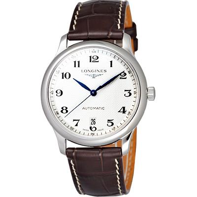 LONGINES Master 大三針日期機械錶-白/38.5mm