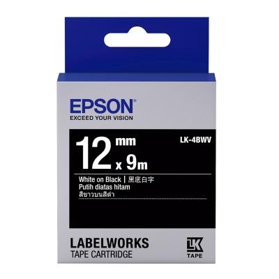 EPSON C53S654415 LK-4BWV黑底系列黑底白字標籤帶(寬度12mm)
