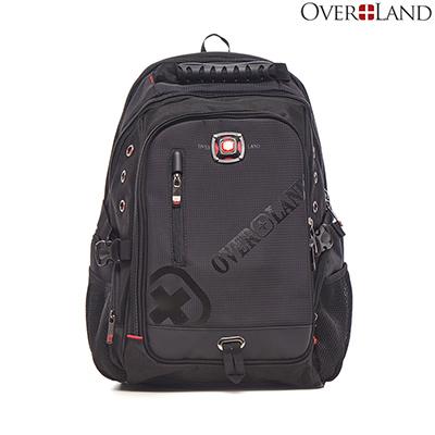 OVERLAND-美式十字軍x品牌LOGO浮印多夾層後背包
