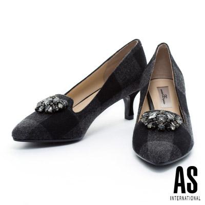 高跟鞋-AS-華麗鑽飾格紋毛呢尖頭樂福高跟鞋-黑