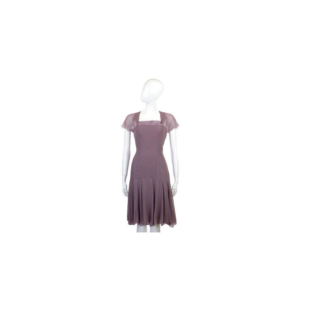 NINA 紫色紗質拼接短袖洋裝