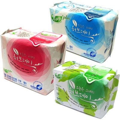 天然【UFT】韓國風草本假期衛生棉《日夜用各1包護墊2包》