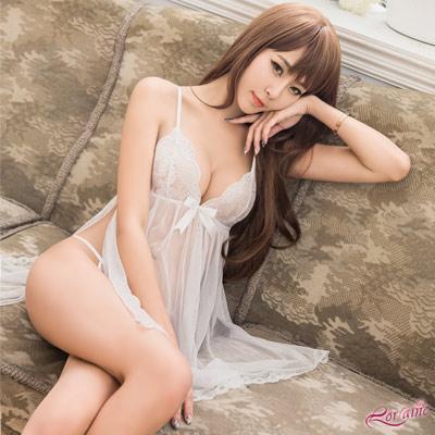性感睡衣 純白透視薄紗側開襟二件式性感睡衣(白F) Lorraine