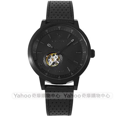 MASERATI 瑪莎拉蒂GT極致黑鏤空機械真皮手錶-黑/44mm
