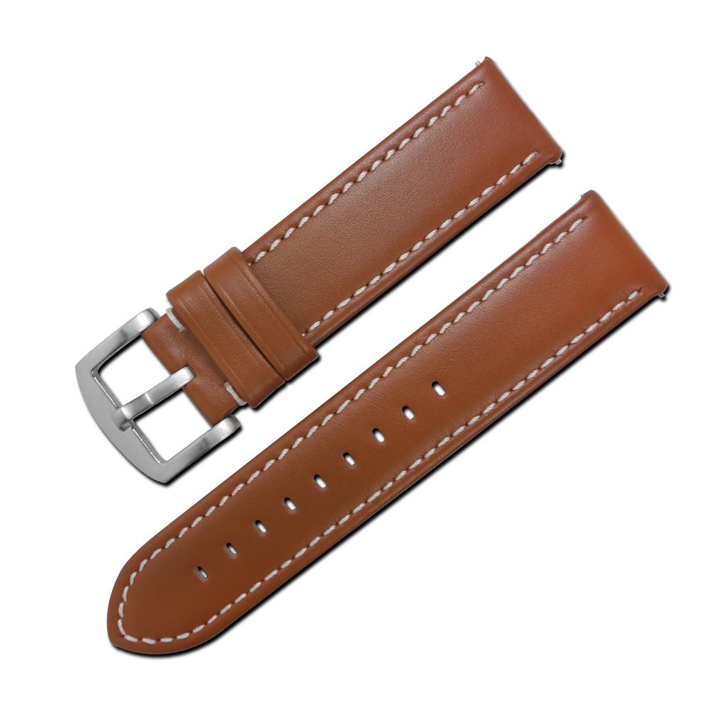 LICORNE 力抗 各種品牌通用復刻真皮錶帶-咖啡色x白線/22mm