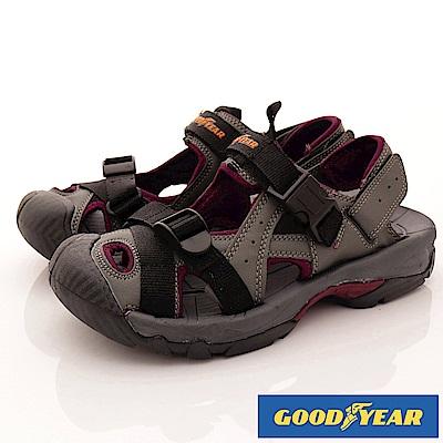 GOODYEAR-護趾運動涼鞋-EI3668灰紅(男段)