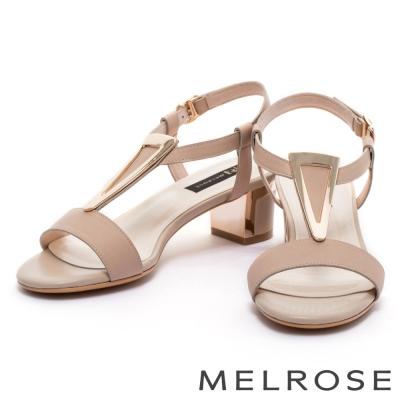 涼鞋 MELROSE 優雅倒三角方釦牛皮粗跟涼鞋-米